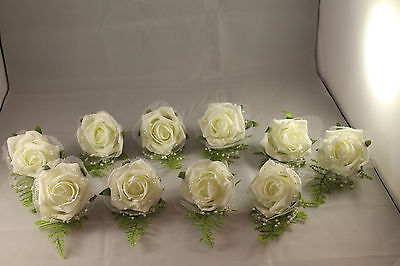 WEDDING BUTTONHOLES  x 10  IVORY NETTING & BEADING** VERY ELEGANT**