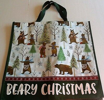"CHRISTMAS Reusable Tote Bag BEARY CHRISTMAS  19"" X 17"" X 7"""