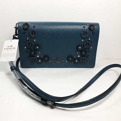 1965cb6e6 Coach Willow Floral Crossbody Clutch Polished Pebbled Leather Mineral Blue  59382