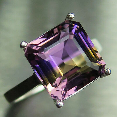 6.8cts Natural Bi-colour Ametrine 925 silver 9ct 14k 18k Gold solitaire ring