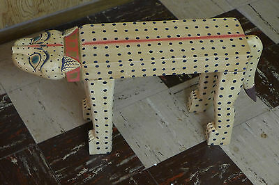 Indonesian / Balinese Handcrafted Wooden Large White/Yellow Cat Stand/Table