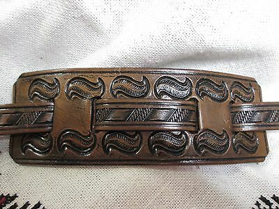 Tooled Stamped Brown Leather Wristband Wrist Strap