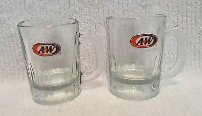 2 Mini Vintage A&W Heavy Glass Rootbeer Mugs L@@K *BRAND NEW* ~Free Shipping~