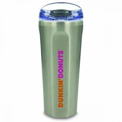 Dunkin Donuts Logo Chrome Silver Coffee Mug 20oz Quad Tumbler 2017 With Straw