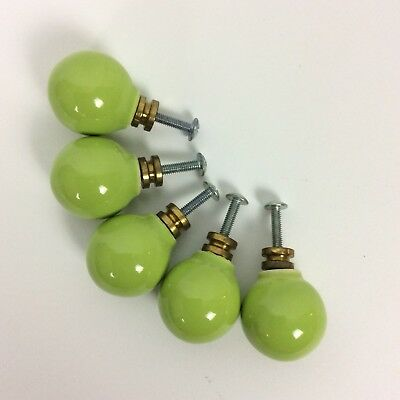 Ceramic Ball Drawer Cabinet Pulls Set Of 5 Lime Green Vintage Mid Century