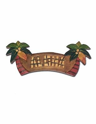 Hand Painted Welcome Sign Coconut Tree Aloha