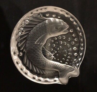 Vintage Frosted Crystal Lalique Concarneau Ashtray Koi Fish with Bubbles