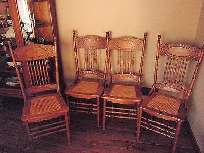 Set 4 FOUR Antique Oak PRESSED BACK CHAIRS with Cane Seats- Very Good Condition