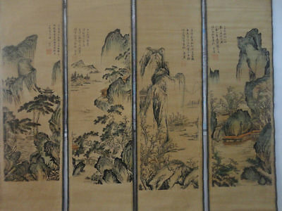 """Old Chinese collection""""shan shuei hua"""" Painting & Scroll 唐寅-山水画"""
