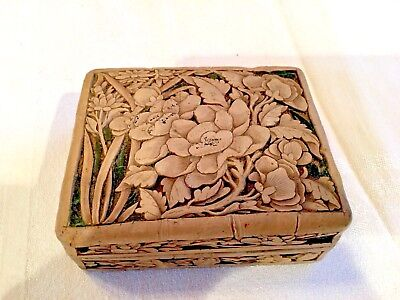 Antique Chinese Qing Dynasty Cinnabar Box:  Cream/Yellow Floral Design