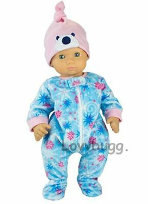 "Adorable Stars and Snowflakes Sleeper with Hat for 15"" Bitty Baby Doll Clothes"