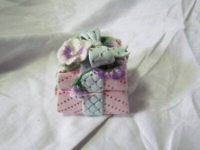 """Fitz And Floyd Small Gift Box Fowers And Blue Bow 3 1/2"""" Tall Two Pieces"""