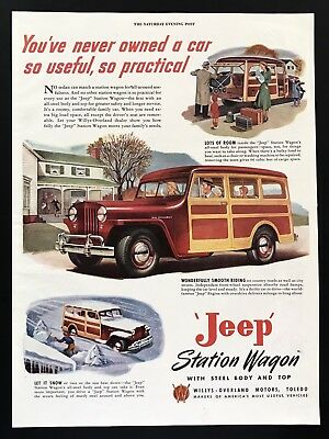 1947 Vintage Print Ad JEEP Station Wagon Willys Overland Illustration Family Car