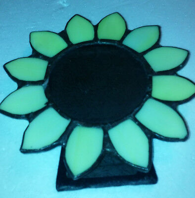 Antique Vintage Picture Frame Stained Glass Flower