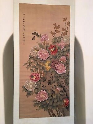 A Large Chinese Painting 'flower & Butterfly' Ink Color On Silk, Titled Signed