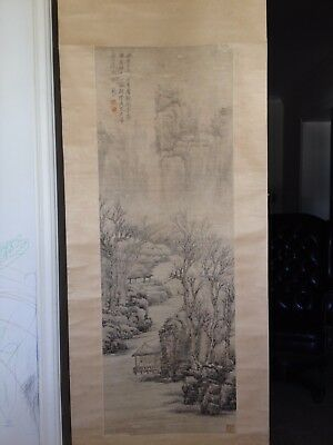 A Large Chinese Painting 'mountain Life' Ink Color On Paper, Titled Signed