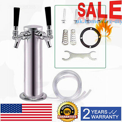 Double Tap Draft Beer Tower Stainless Steel Bar Pub Kegerator Dual Chrome Faucet