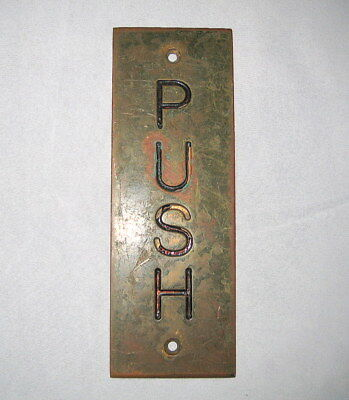 "Vintage Brass Entry/Exit Door ""Push"" Plate Architectural Salvaged Hardware"