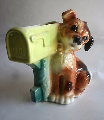 "Vintage Royal Copley Ceramic Puppy Dog by U.S. Mail Box Planter - 8"" Tall"