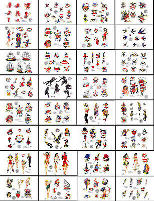 "Sailor Jerry Swallow 1996 Traditional Tattoo Flash 48 Sheets 11x17"" Ships, Girls"