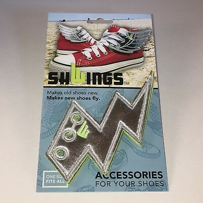 SHWINGS SILVER FOIL Lightning bolt wings for SHOES official Shwings NEW