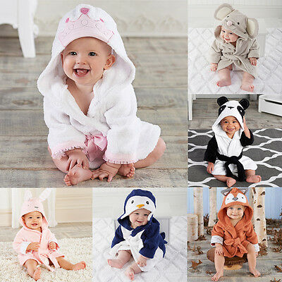 Newborn Boy Girl Animal Bathrobe Baby Hooded Bath Towel Infant Bathing Blanket