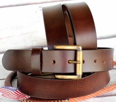 XL Unisex Full Grain Cowhide 100% Leather Casual Dress Belt Brown 2615RS01