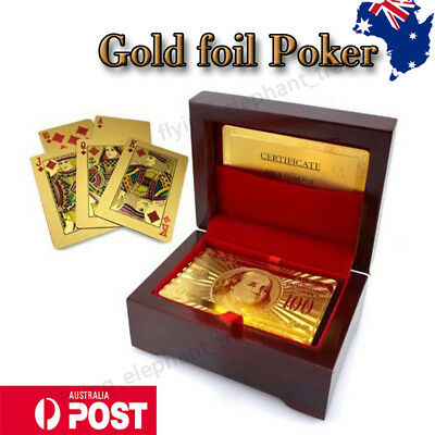 24K Gold Plated Poker Waterproof Playing Cards With Wooden Box Christmas Gift