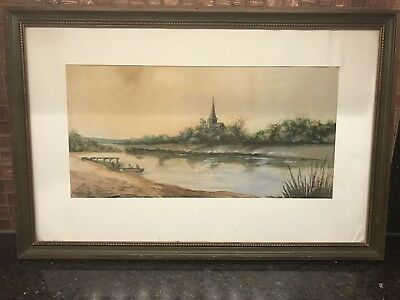 """1797 Original Framed Water Color Painting By K Atwood American Artist 13x7"""""""