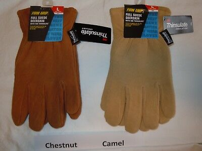 3529dcca4bad6 FIRM GRIP Full Suede Deerskin Winter Work Gloves 3M Thinsulate 40G Men's  LARGE