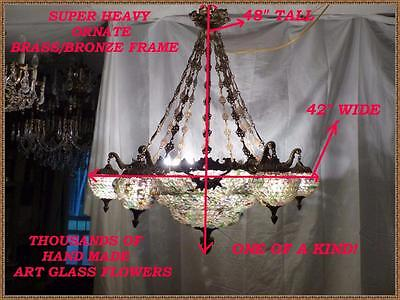 Vintage Antique Brass Bronze European Chandelier Unique Huge And Gorgeous!24lite