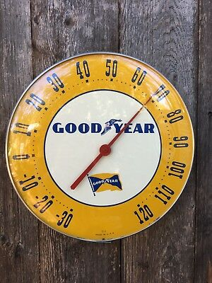 "Original Goodyear 12"" Diameter Working Condition Advertising Thermometer"