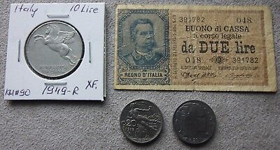 Rare! 1894, Italy 2 Lire-UMBERTO Paper Note w/ Italy (3) Different Coins, VF-XF.