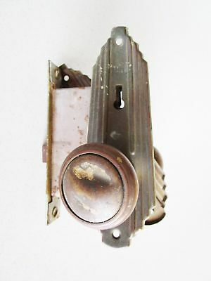 Vintage Art Deco Solid Brass Entry Door Door Knob Lockset Rehab Original