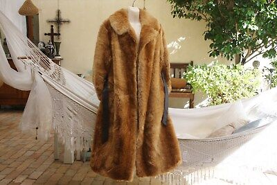 1950s VINTAGE GLAMOUR FULL LENGTH FAKE FOX FUR TRENCH COAT SZ 14 AS NEW
