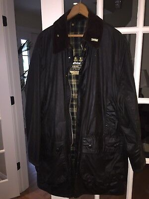 Men's Barbour A200 Border Green Waxed Jacket Size C42 / 107cm Genuine England