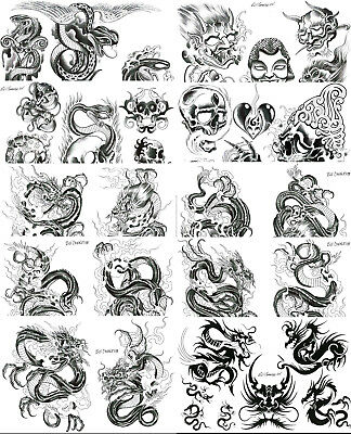 Traditional Japanese Black and Grey Tattoo Flash 10 Sheets with Lines 11x17