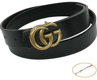 Women's Genuine Leather Thin Belts For Jeans With Fashion Letter Buckle 0.9 Wide