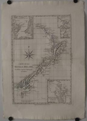 New Zealand 1780 Bonne & Raynal Unusual Antique Original Copper Engraved Map
