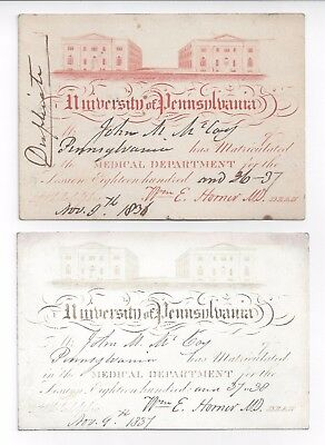 PAIR of GRAPHIC 1836–38 University of Pennsylvania MEDICAL Matriculation TICKETS