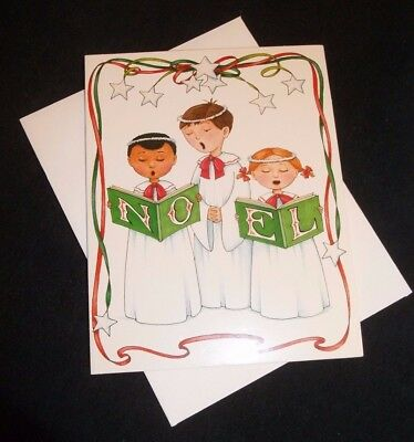"Mary Engelbreit Christmas note card ""NOEL"" kids singing-glitter accented"