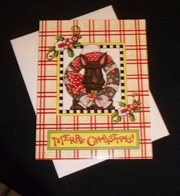 "Mary Engelbreit Christmas note card ""Merry Christmas"" Scottie-glitter accented"