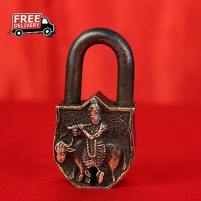 Brass Handcrafted Krishna With His Cow Figure Embossed Lock With 2 Keys 936