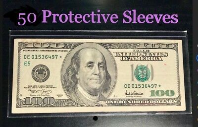 50 SEMI-RIGID Vinyl Money Protector Sleeves US Dollar Bill CURRENCY HOLDERS BCW