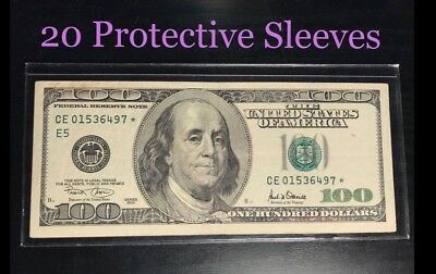 20 SEMI-RIGID Vinyl Money Protector Sleeves US Dollar Bill CURRENCY HOLDERS BCW