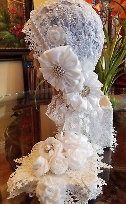 Bridal Vintage Headpiece Hand Made White Satin and Chiffon Flowers