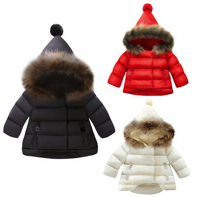 Baby Girls Boys Kids Jacket Thick Fur Hooded Coat Winter Warm Lot Down Clothes