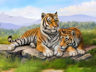"""36"""" inch TOP ART Animal  two tigers landscape PAINTING on canvas  Good quality"""