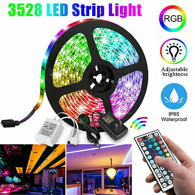 2X RGB Strip LED Light 5M 3528 Power Supply Adapter 44Key IR Remote Waterproof