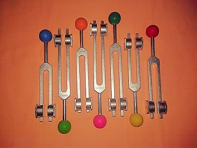 7 Chakras weighted Tuning forks with Color ball handles for healing